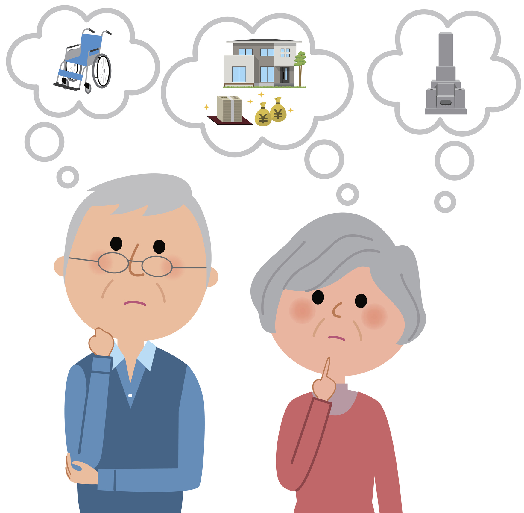 Illustration of a elderly couple imagining a life plan.